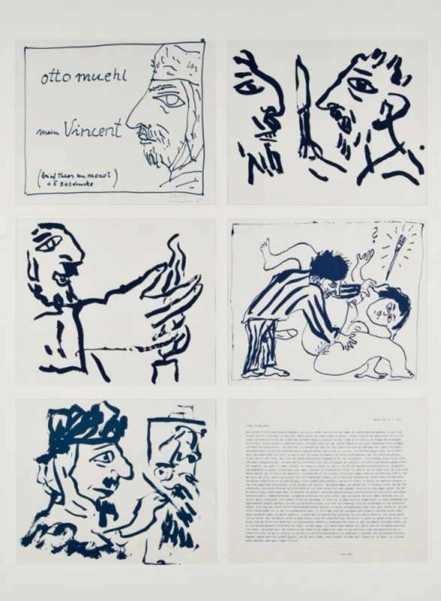 OTTO MUEHL(1925 GRODNAU - 2013 MONCARAPACHO)MEIN VINCENT, 1984Brief Theos an Monet und fünf