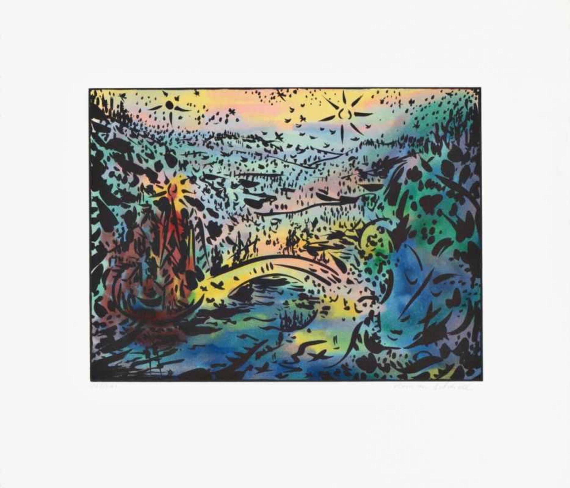 ROMAN SCHEIDL(1949 LEOPOLDSDORF)FLUSSLANDSCHAFTFarblithografie auf Bütten, Plattengröße: 29,5 x 39,5