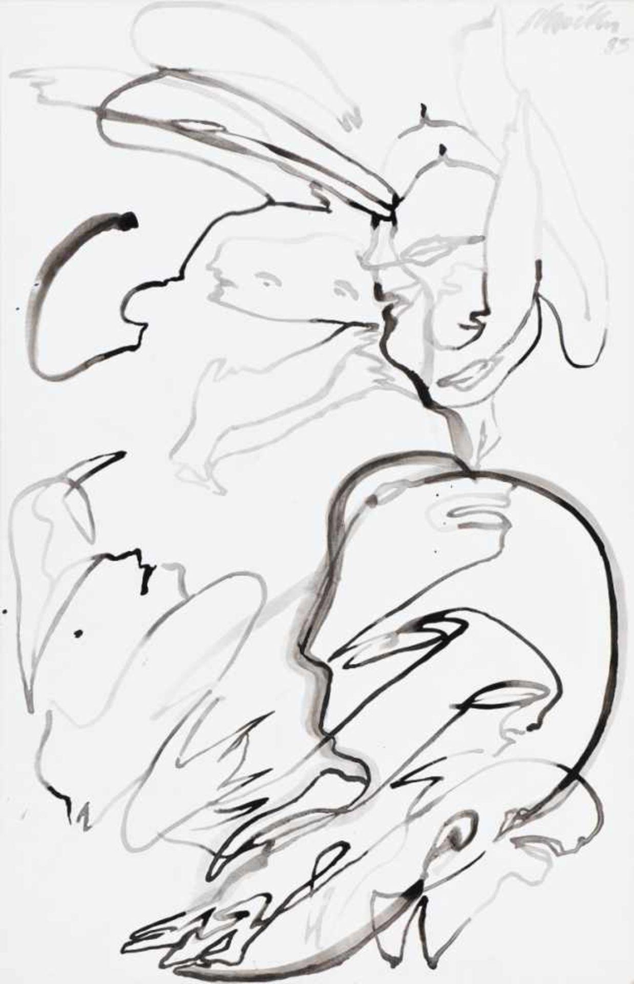 ERNST SKRICKA(1946 WIEN)o. T., 1985Tusche, Tusche gewässert auf Zeichenkarton, 100 x 65
