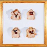 WIM DELVOYE(1965 WERVIK/BELGIENFour chicken with tattouFarbfotografie,2 3,5 x 23,5 cm,gerahmt, Maß