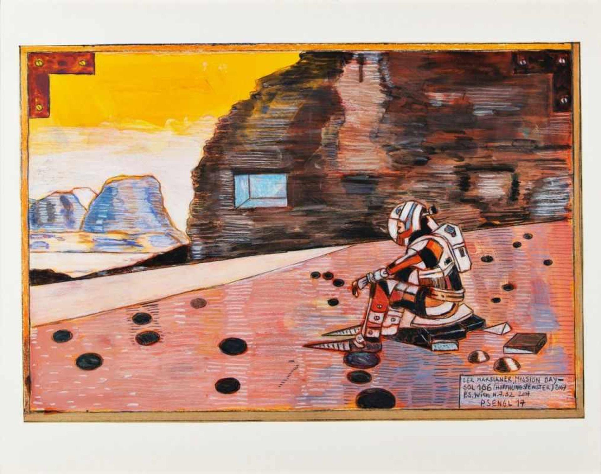 PETER SENGL(1945 UNTERBERGLA)DER MARSIANER, 2017Mischtechnik auf Papier, 31 x 45 cmgerahmt, Maß