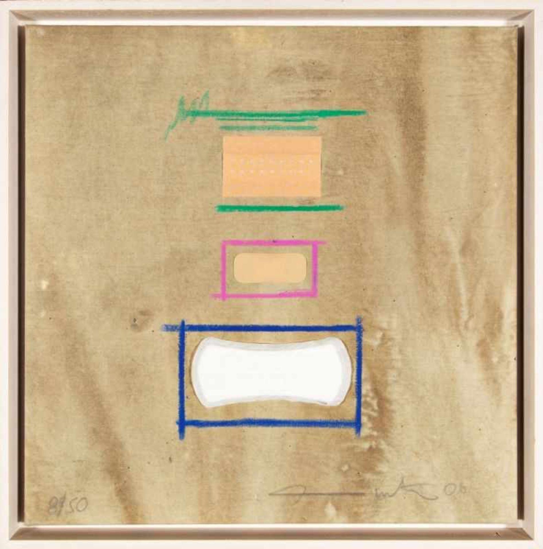 Los 34 - HERMANN NITSCH(1938 WIEN)o. T., 2006Collage, Mischtechnik auf Leinwand, 50 x 50 cmgerahmt, Maß mit