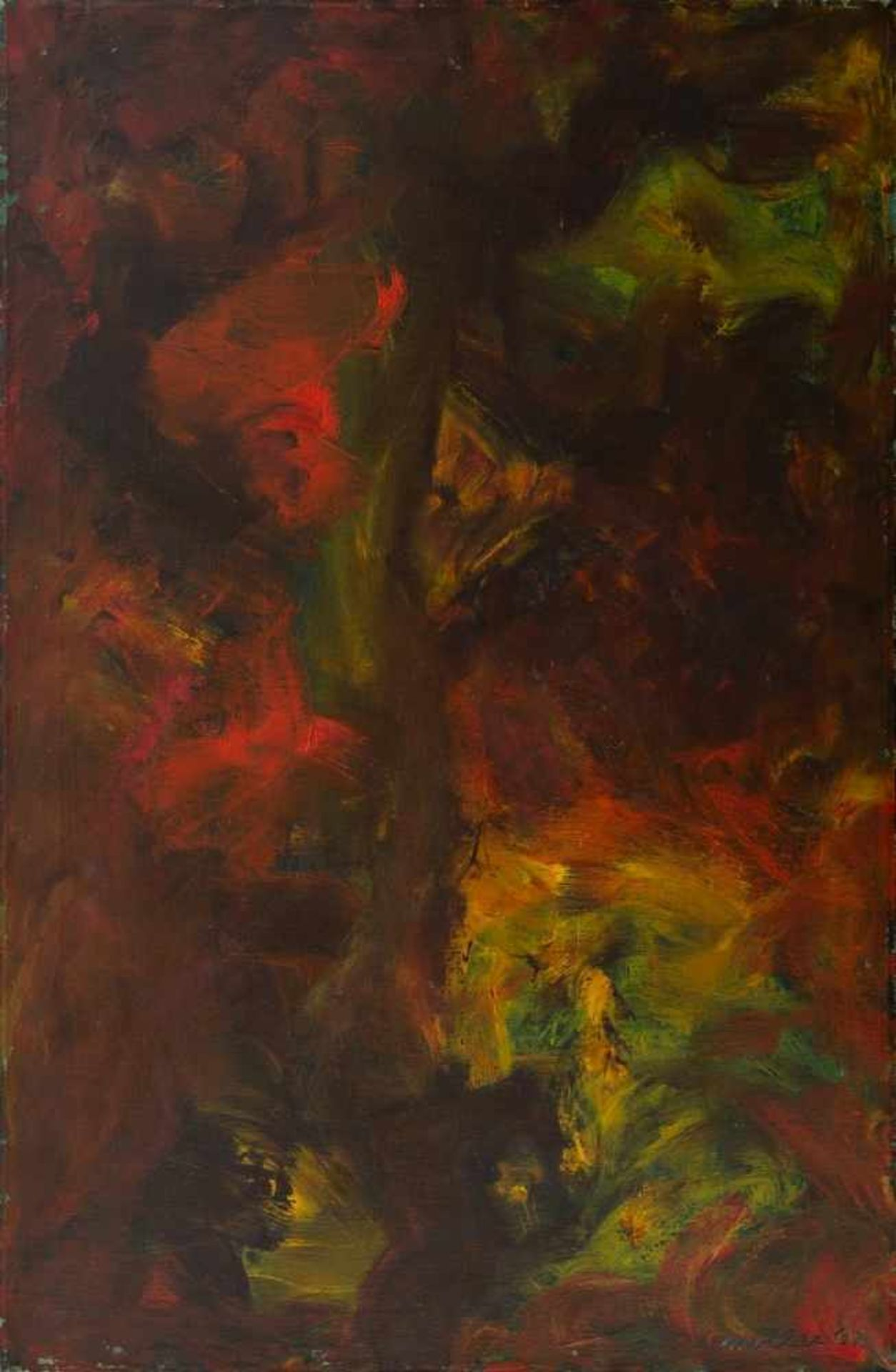 ANDREW MOLLES(1907 MIDDLETOWN, USA - 1975, ROHRAU, NÖ)o. T., 1962Öl auf Leinwand, 94 x 61,5