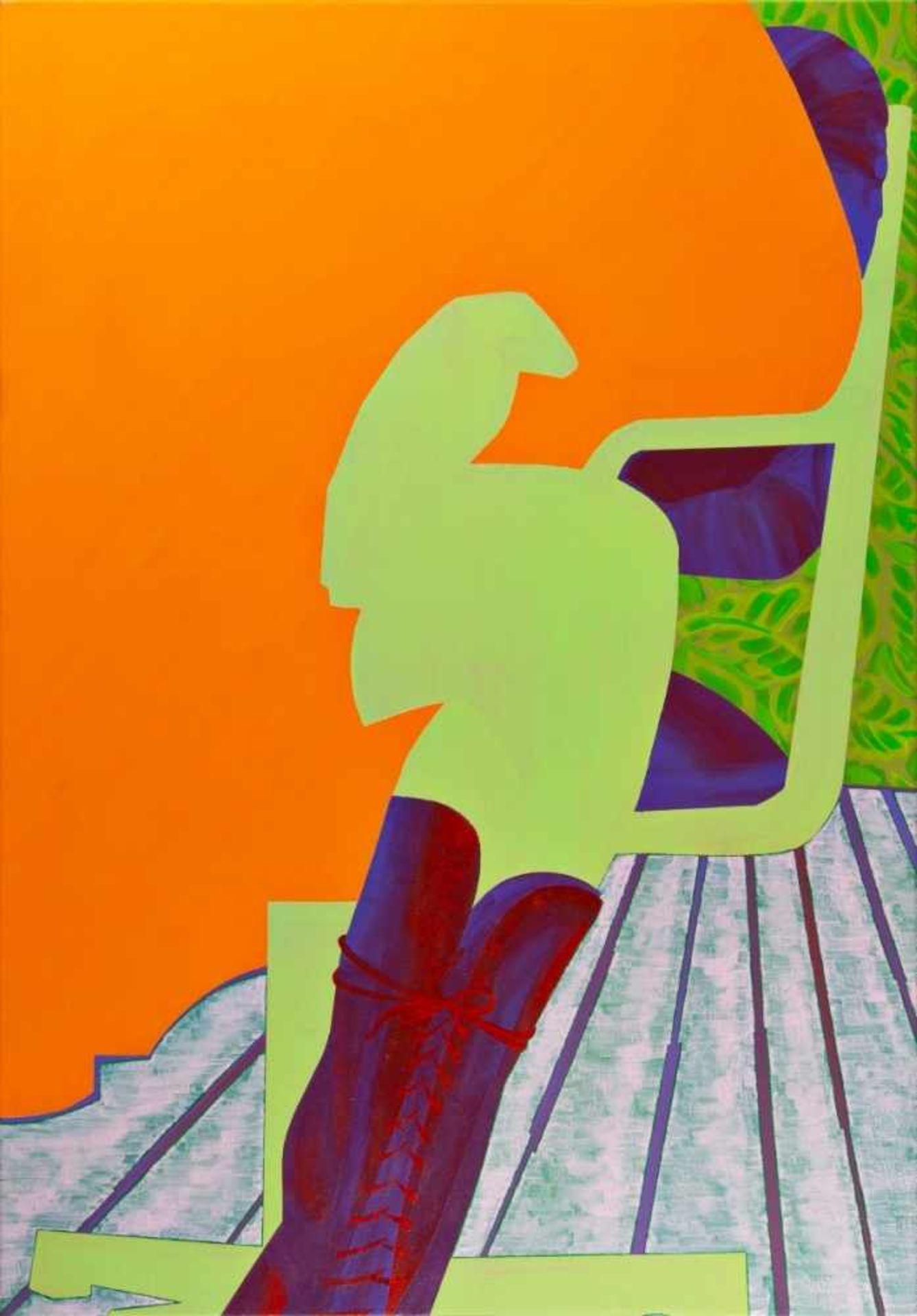 Los 55 - AURELIA GRATZER(1978 HARTBERG)ORANGE, 2003Dispersion auf Molino, 100 x 70 cmgerahmtSignatur