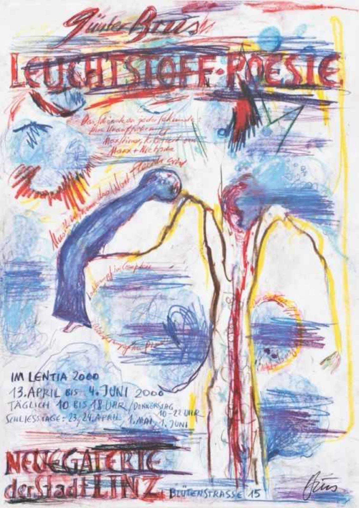 Los 60 - GÜNTER BRUS(1938 ARDNING)LEUCHTSTOFF-POESIE, 2000Plakatdruck auf dünnem Kartonpapier, 84,5 x 60