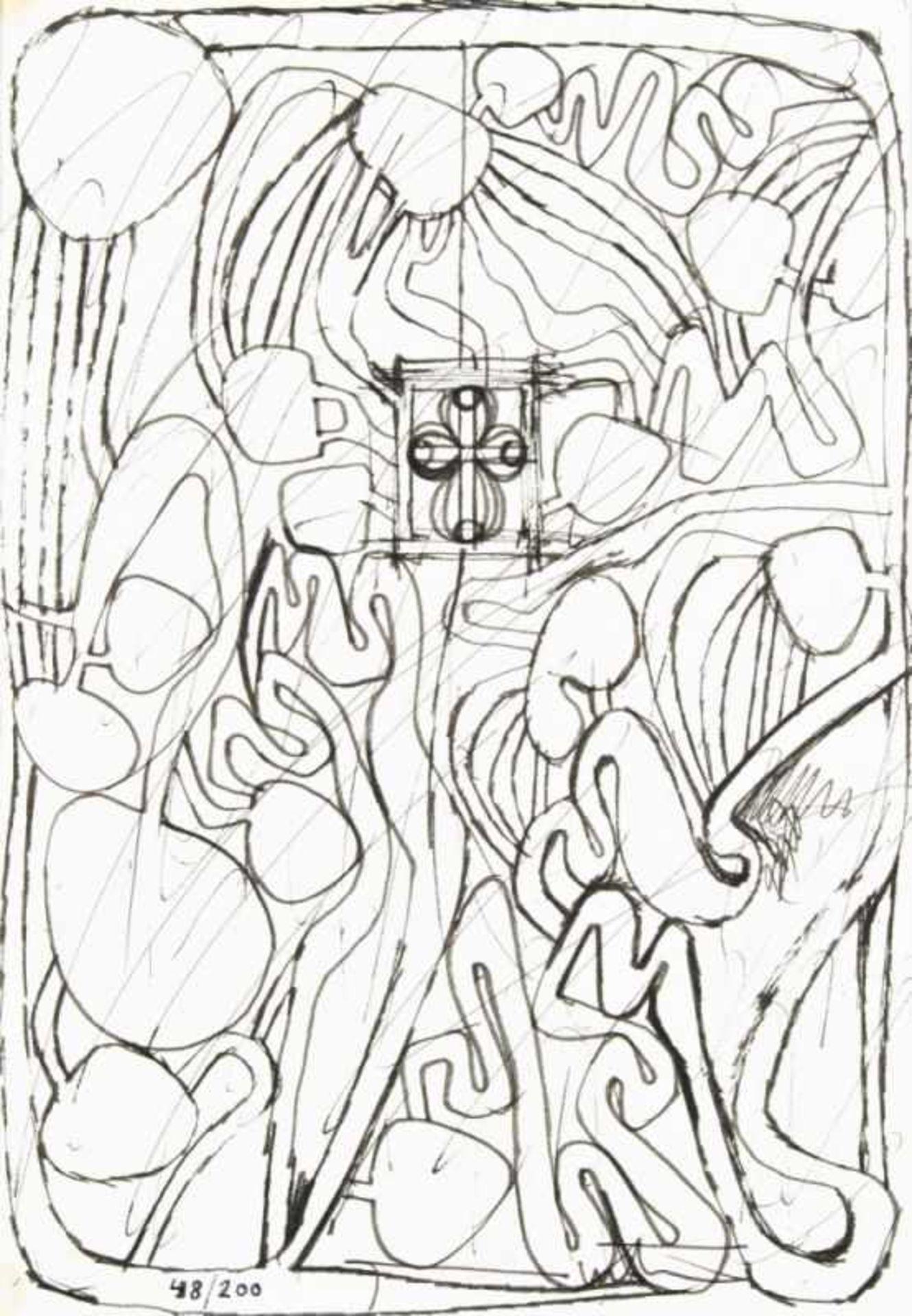 Los 31 - HERMANN NITSCH(1938 WIEN)ARCHITEKTURZEICHNUNGaus einer SerieFilzstift auf Papier, 23,5 x 17,4