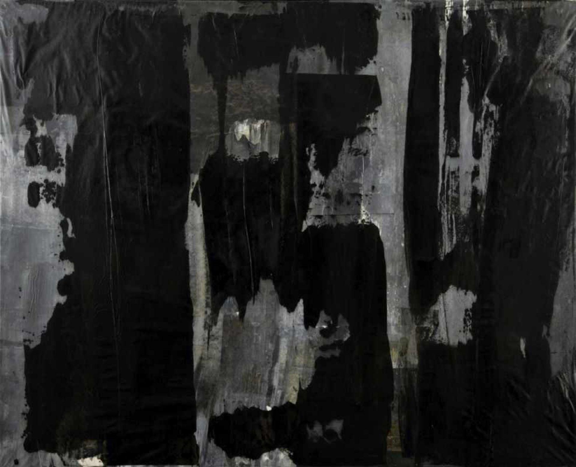 RUDI STANZEL(1958 LINZ)o. T., 2002Papier, Tinte, Acryl auf Leinwand, 80 x 100 cmSignatur Rückseite