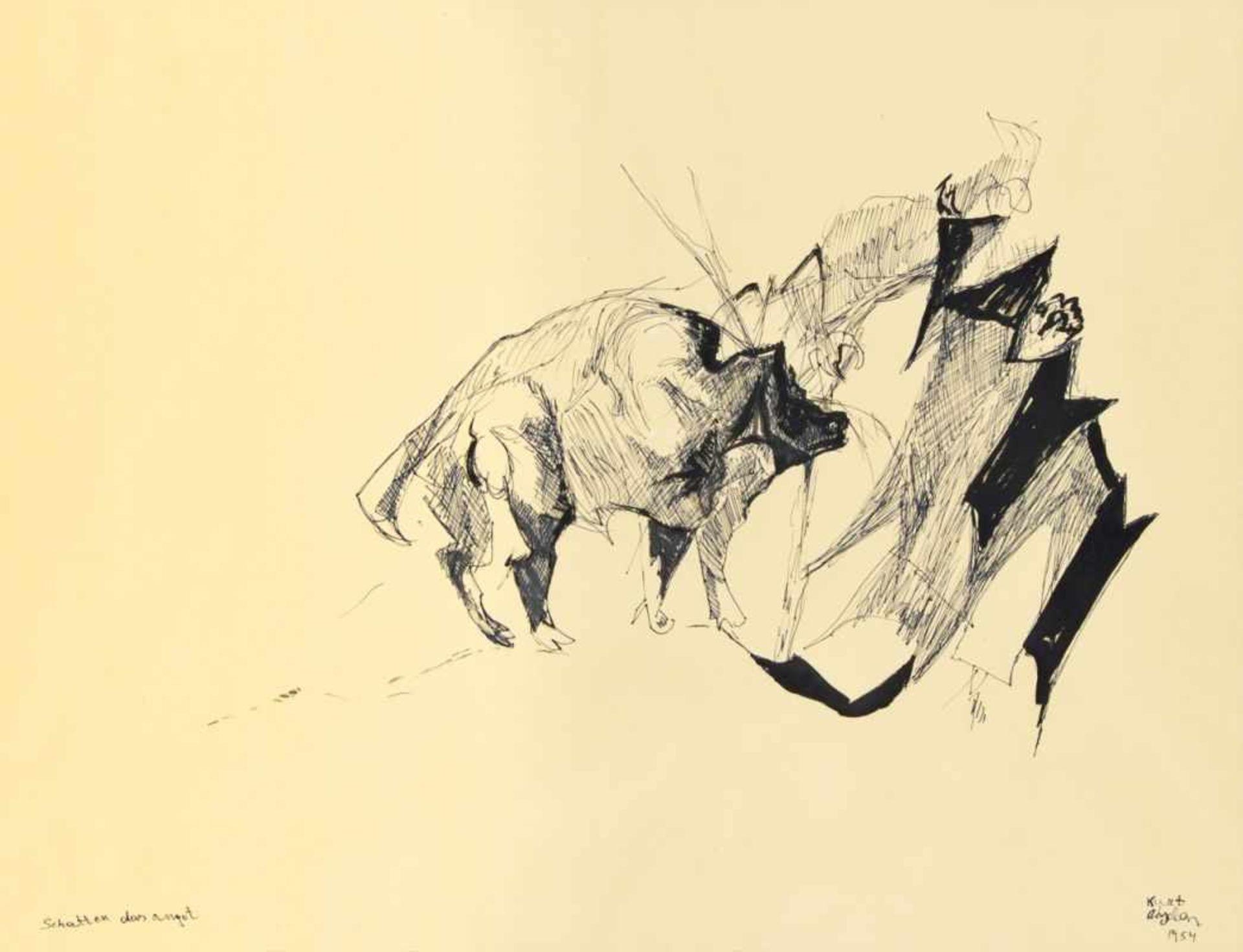 Los 65 - KURT ABSOLON(1925 WIEN - 1958 WULKAPRODERSDORF)SCHATTEN DER ANGST, 1954Tusche auf Papier, 49 x 64