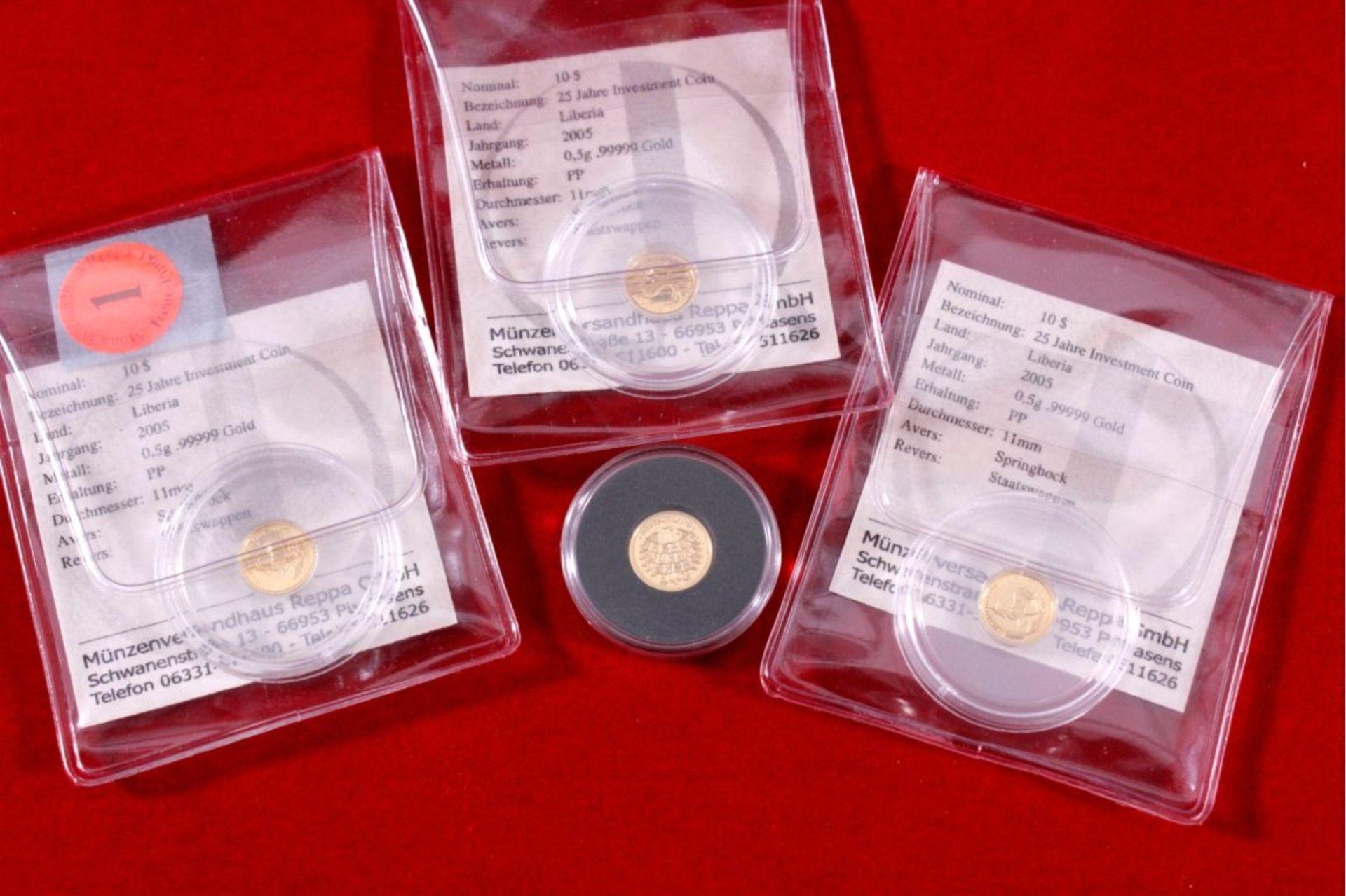 4x Die kleinen GoldraritätenInsgesamt 2 g Feingold, 3x 25 Jahre Investment Coin mitZertifikat und - Bild 2 aus 3