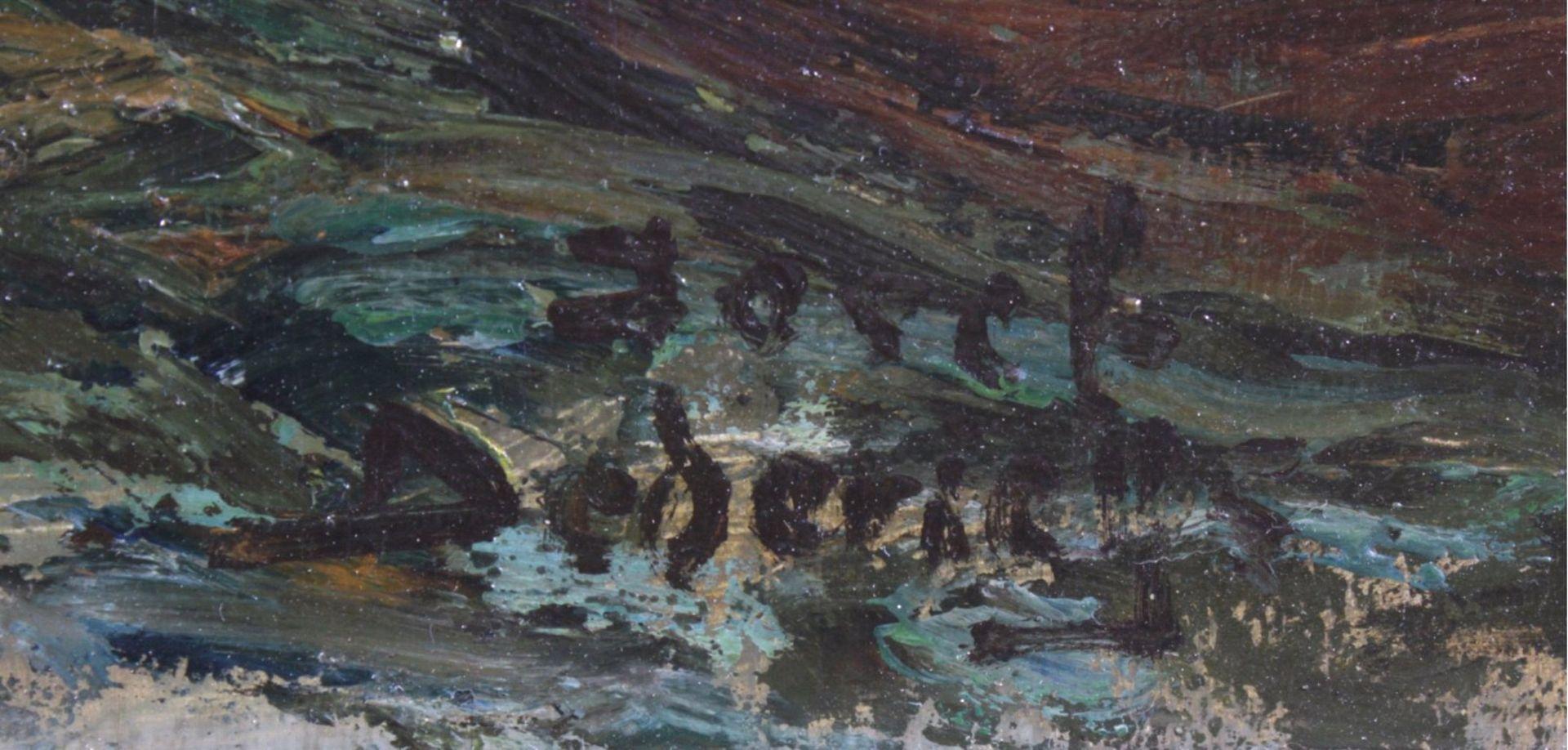 Josef Dederichs (1876-1948/58)Hafenansicht von Amsterdam, Öl auf Karton gemalt, untenrechts - Bild 3 aus 3