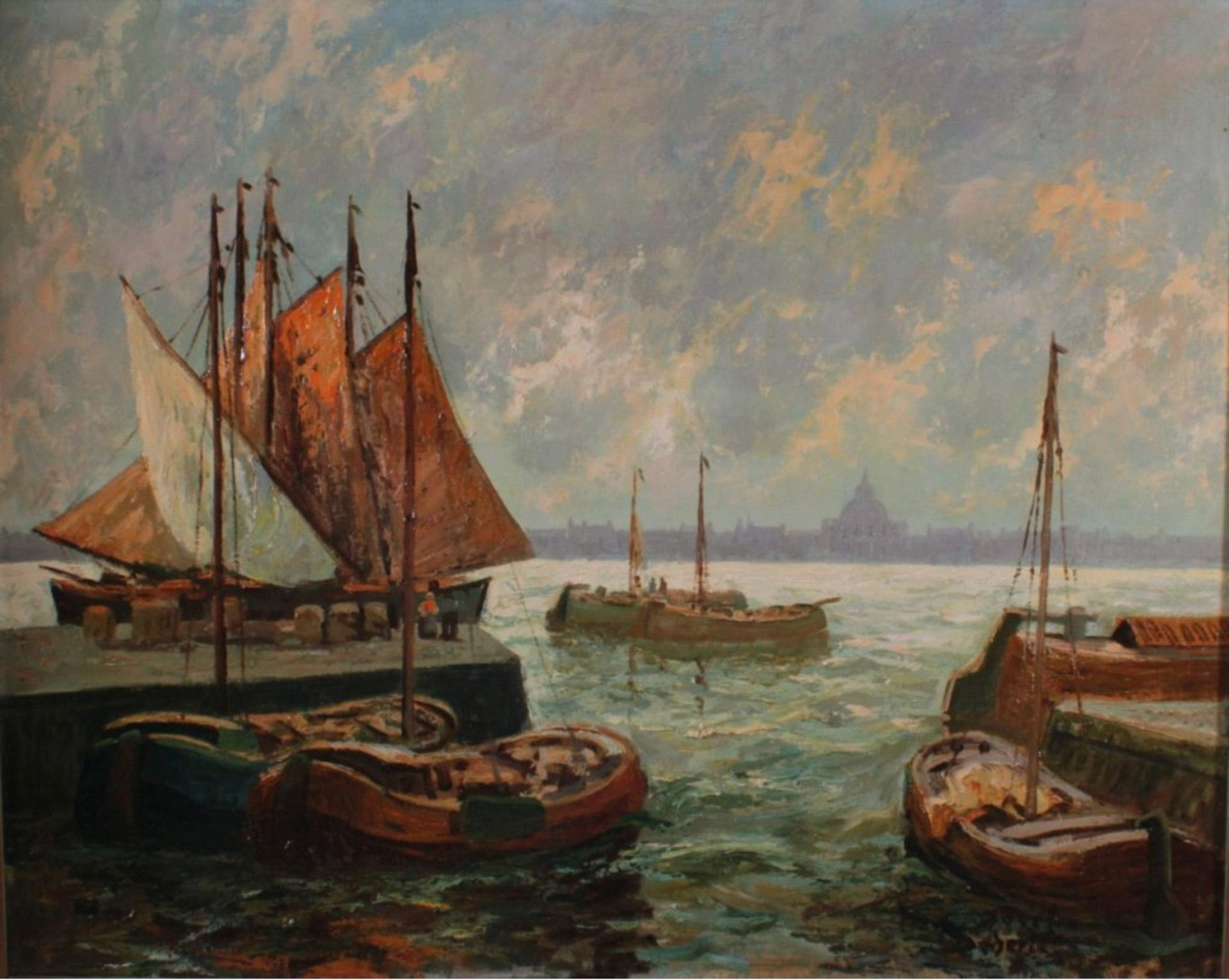 Josef Dederichs (1876-1948/58)Hafenansicht von Amsterdam, Öl auf Karton gemalt, untenrechts - Bild 2 aus 3