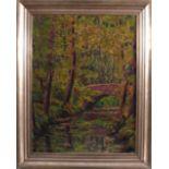 Unbekannter Künstler, Flußlandschaft mit BrückeÖl auf Pappe gemalt, unsigniert, gerahmt ca. 54 x