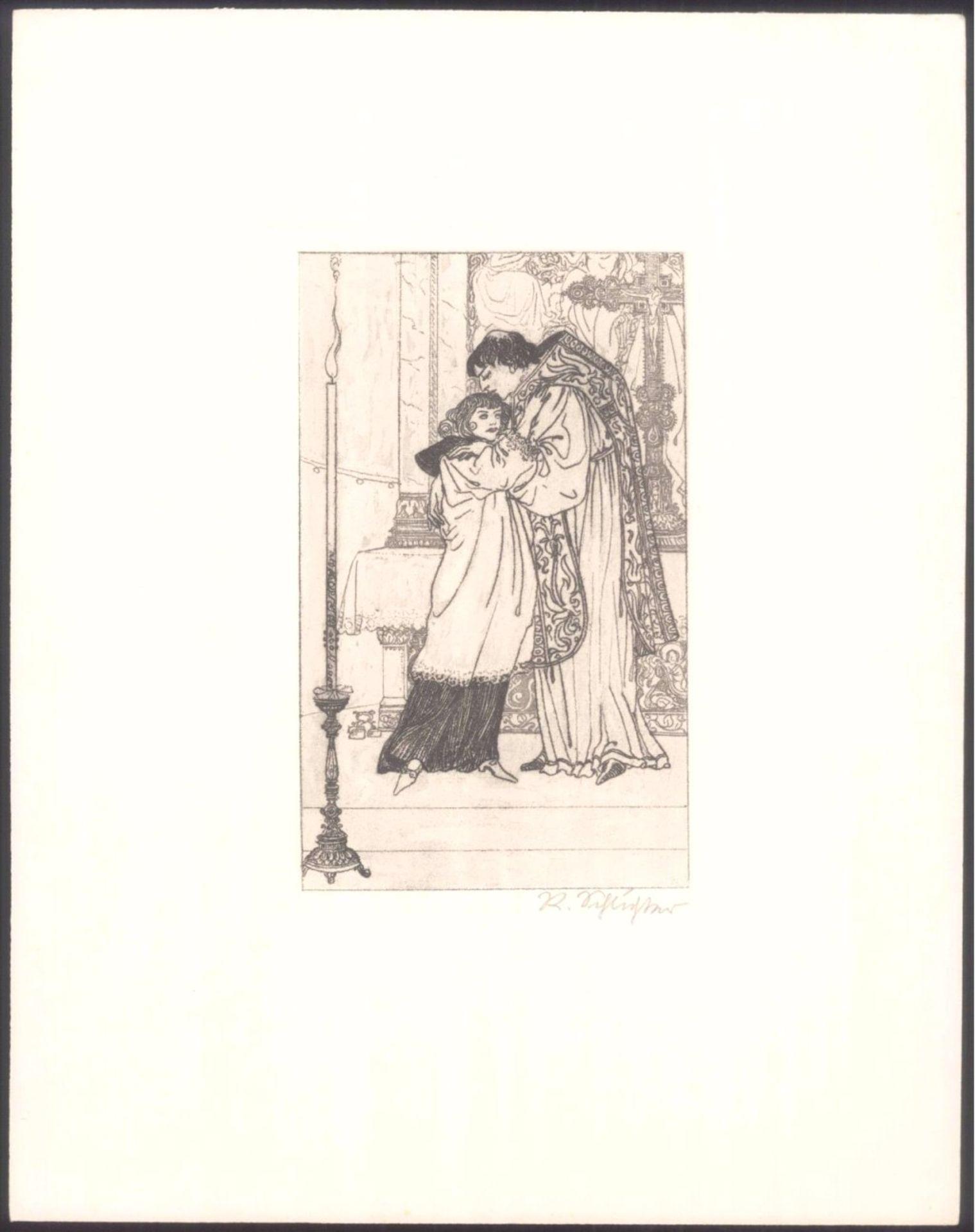 """Rudolf Schlichter 1890-1955. """"Am Altar""""Kaltnadelradierung, unten rechts mit Bleistift signiert,ca. - Bild 2 aus 2"""