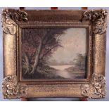 """GemäldeÖl auf Leinwand, """"Landschafts-Szenerie"""", undeutlichsigniert, ca. 25 x 30 cm. Rahmen bestoßen"""
