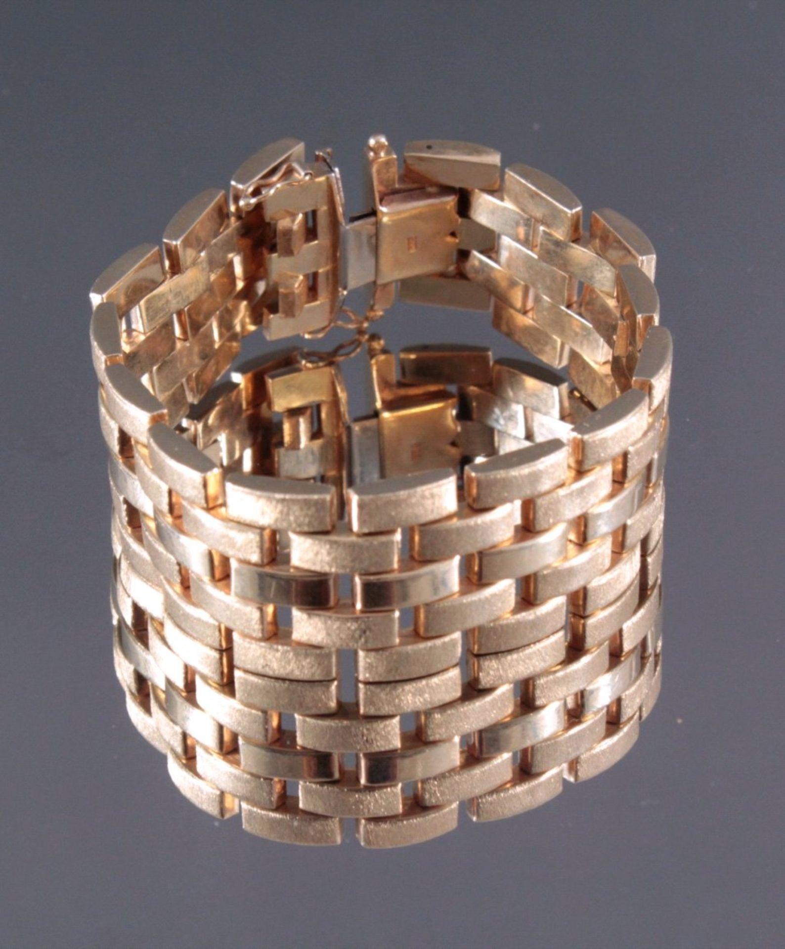 Damenarmband 585/000 GelbgoldGliederarmband, Sicherheitsverschluss, ca. L- 18,5 cm, 44,8g - Bild 2 aus 2