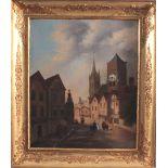 Bilderuhr mit Motiv des Straßburger MünstersFrankreich 19. Jh., vergoldeter Rahmenkasten mit