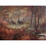 """Gerhard Bluhm (*1924). Landschafts- und TiermalerÖl/Platte, """"Hirsch mit Hirschkühen im Wald"""","""