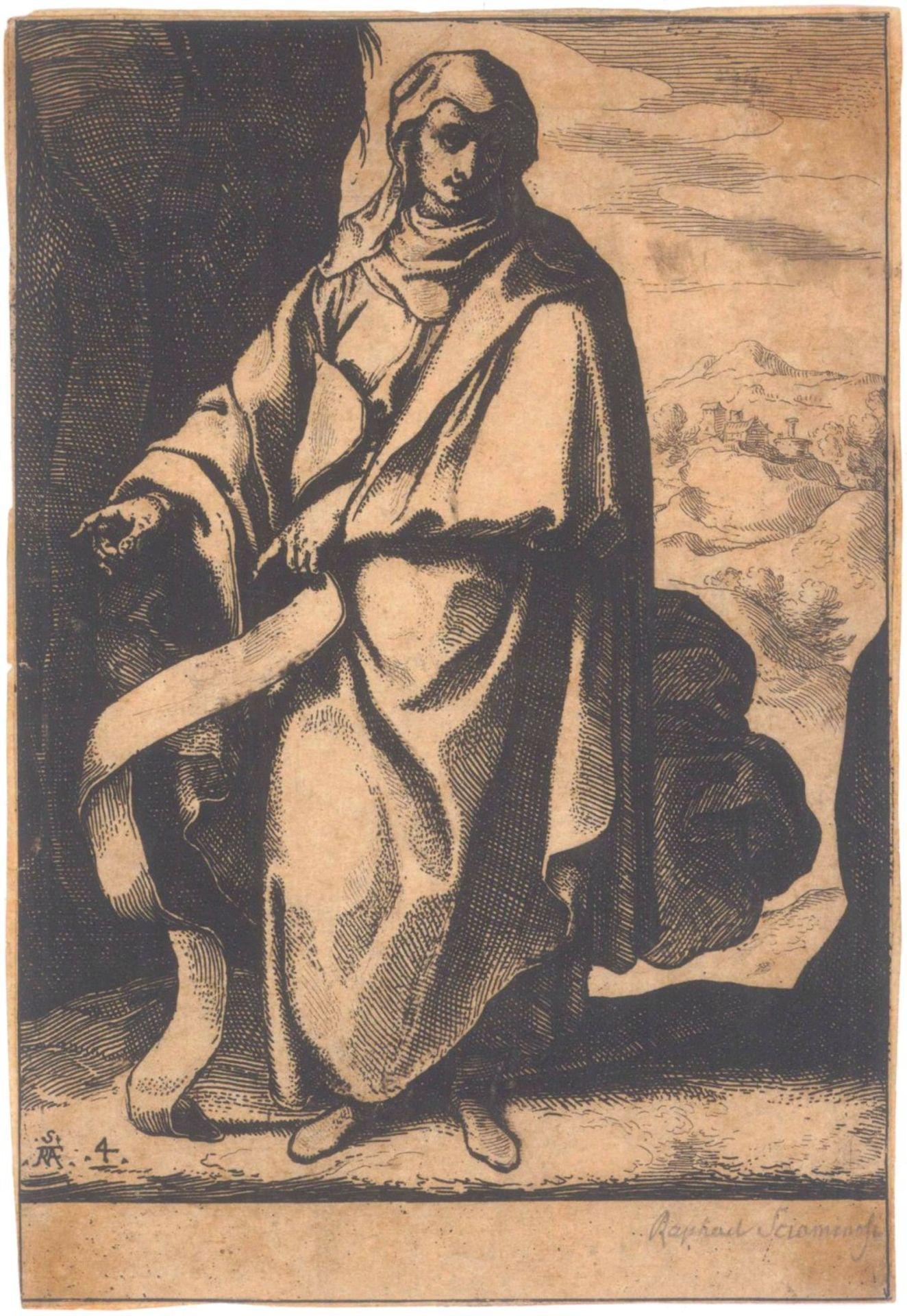 """Raffaello Schiaminossi (1572 - 1622)Radierung um 1610, aus der Serie """"Die zwölf Propheten"""",links"""