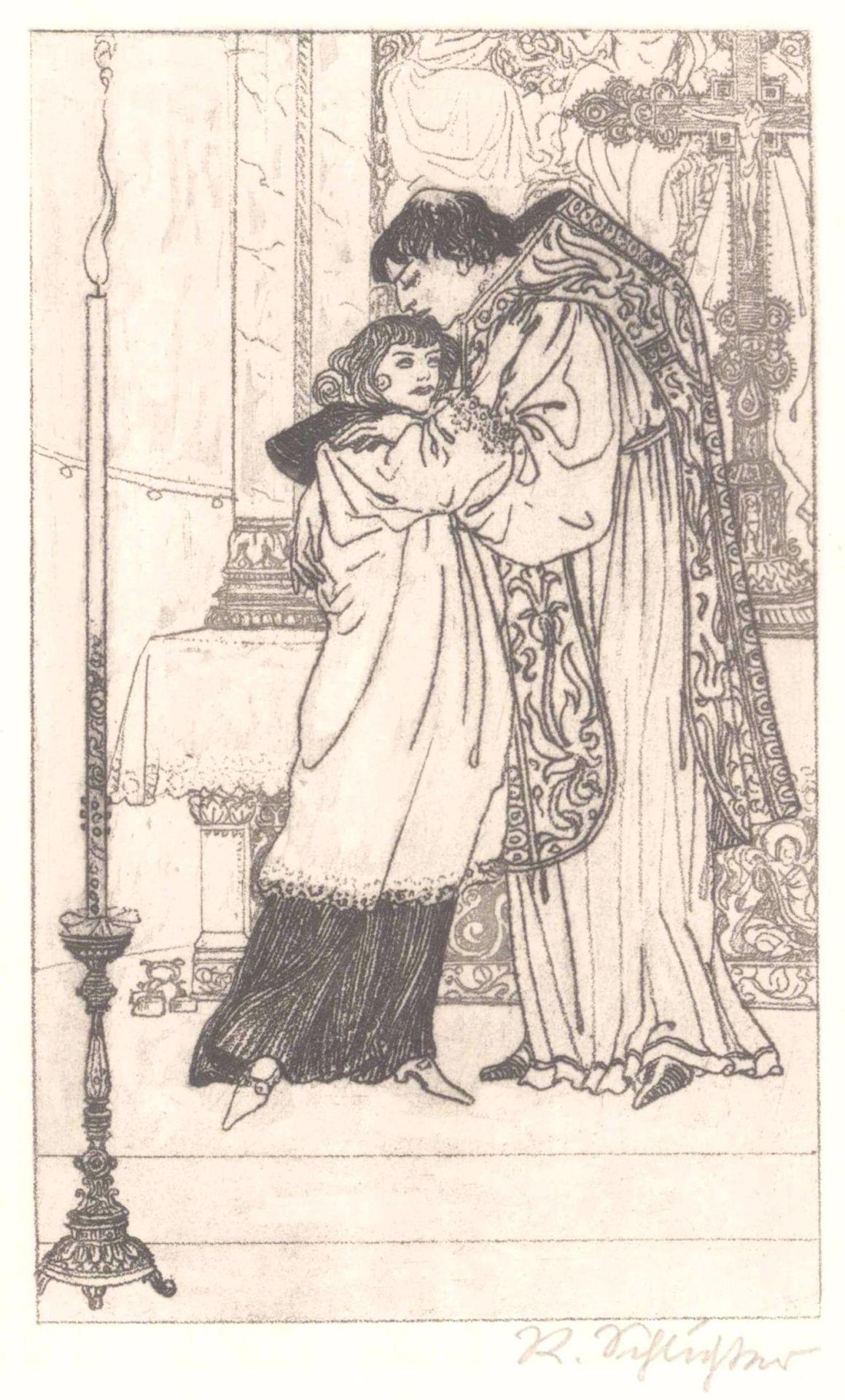 """Rudolf Schlichter 1890-1955. """"Am Altar""""Kaltnadelradierung, unten rechts mit Bleistift signiert,ca."""