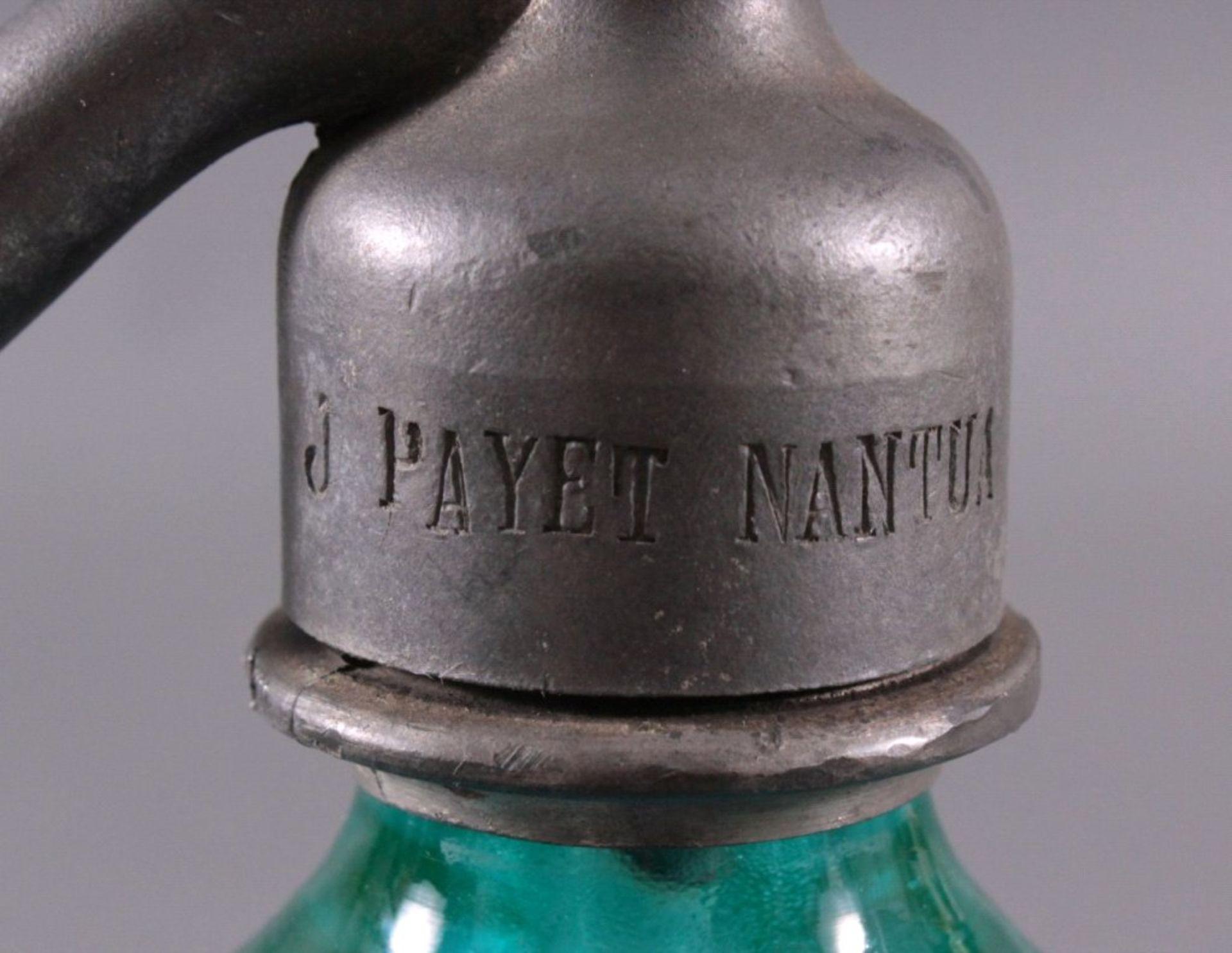 Soda - Flasche aus den 20er/30er JahrenKristall blau, gerippte, konisch nach oben verjüngendeWandung - Bild 3 aus 5