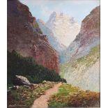 Georg Arnold-Grabone (1896-1982)Im Haslital, Öl auf Leinwand gemalt, unten links signiert,gerahmt,