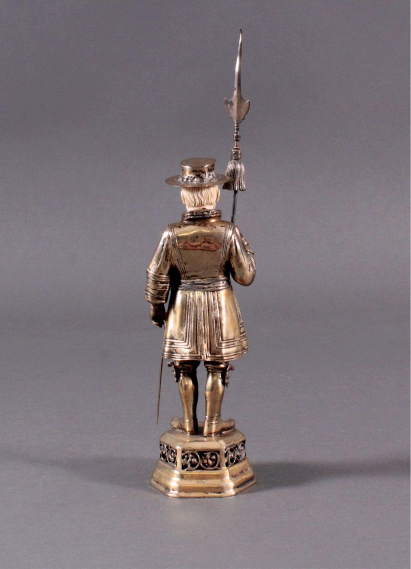 Historismus-Silber-Elfenbein-Figur925er, teilvergoldet/Elfenbein, um 1900 auf durchbrochenem, - Bild 4 aus 6