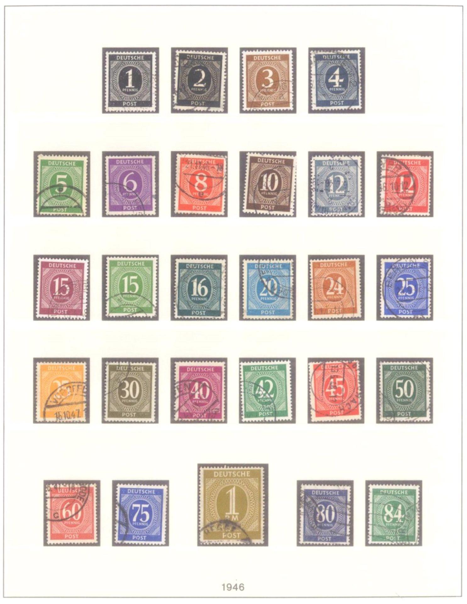 Sammlung Alliierte BesetzungAmerikanische und Britische Zone, AM Post (auch hohe Werte),sowie - Bild 5 aus 12