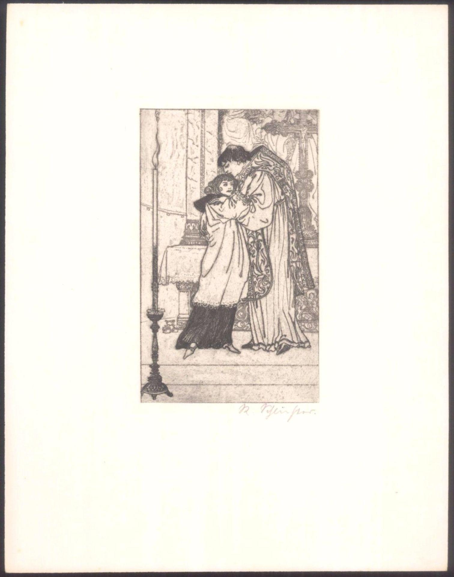 Rudolf Schlichter 1890-1955. Am AltarKaltnadelradierung, unten rechts mit Bleistift signiert,ca. - Bild 2 aus 3