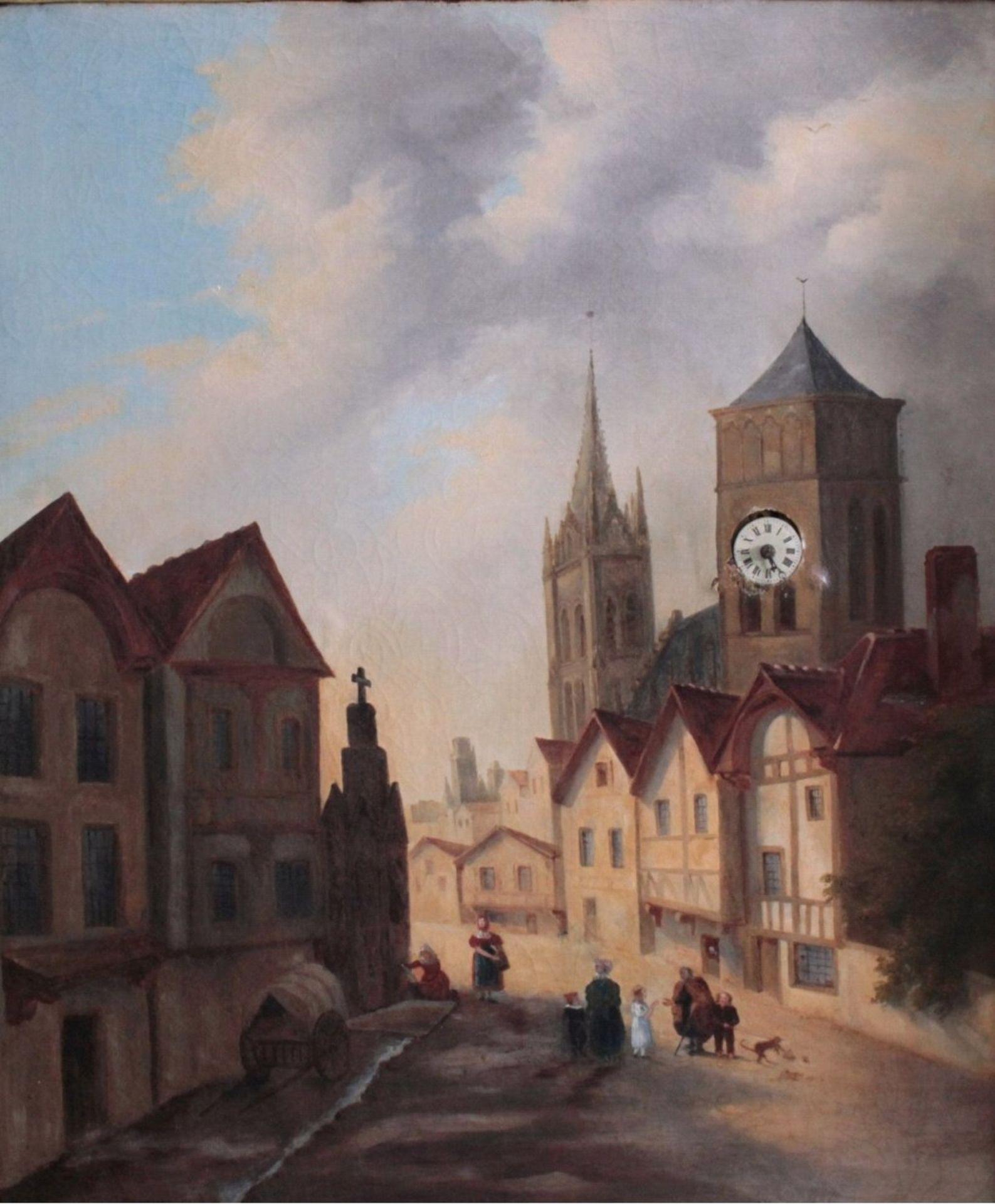 Bilderuhr mit Motiv des Straßburger MünstersFrankreich 19. Jh., vergoldeter Rahmenkasten mit - Bild 2 aus 6