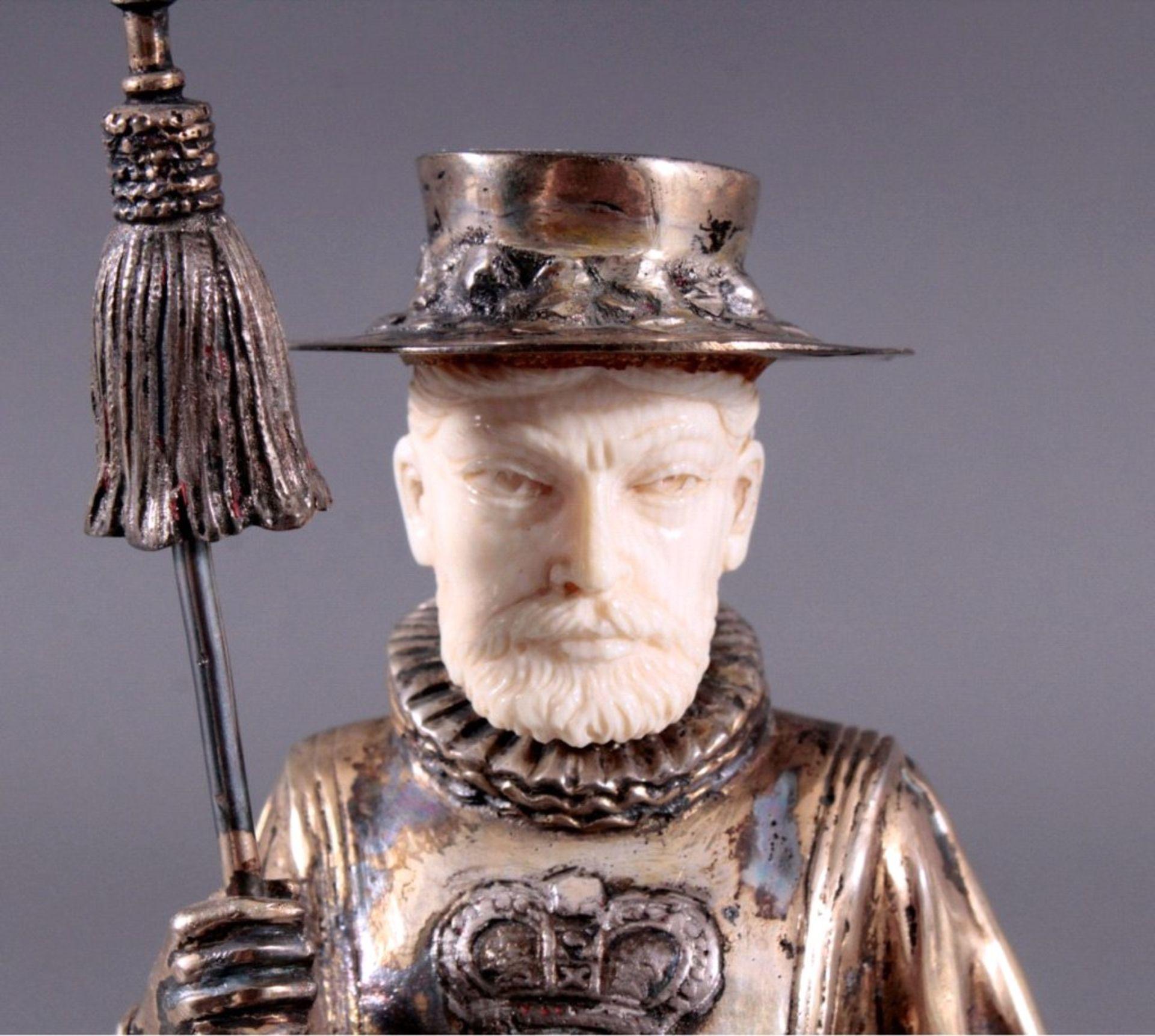 Historismus-Silber-Elfenbein-Figur925er, teilvergoldet/Elfenbein, um 1900 auf durchbrochenem, - Bild 5 aus 6