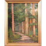 Unbekannter Künstler des 20. JahrhundertsSommerliche Waldlandschaft, Öl auf Pappe gemalt,