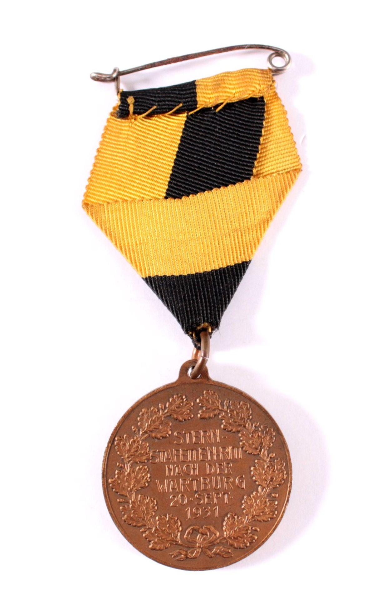 Medaille Stern Staffetten Ritt, Eisenach 1931VS: ohne Text, Motive: Wartburg und 4 Reiter im - Bild 2 aus 3