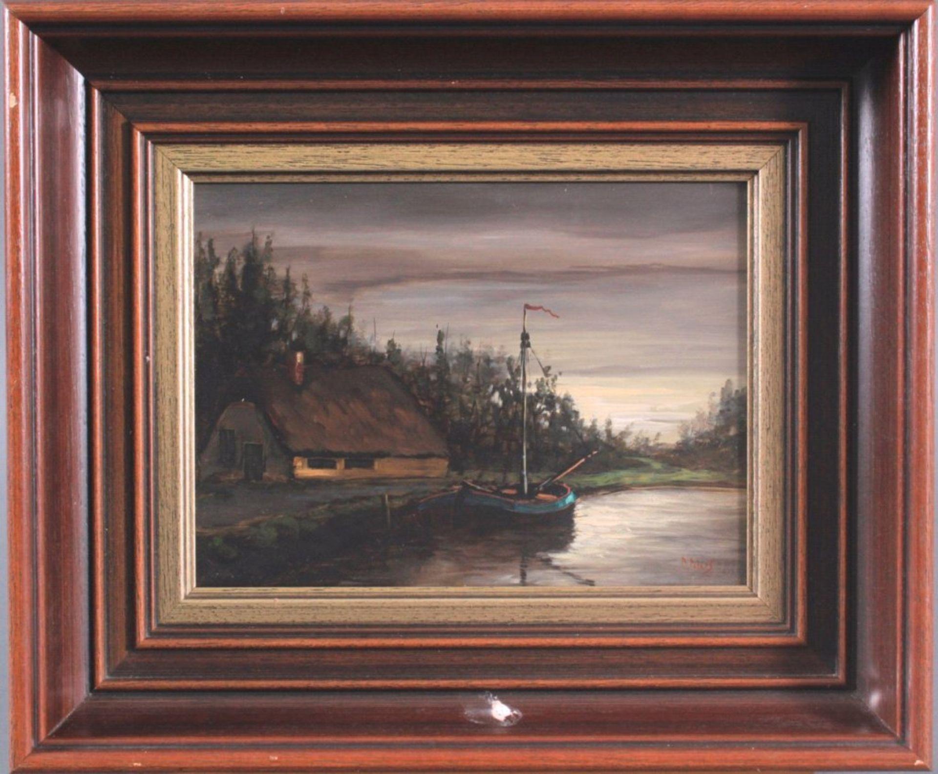 B. Peters ?-?, Fischerboot mit reetgedecktem HausÖl auf Holz, unten rechts signiert, gerahmt, ca. 17