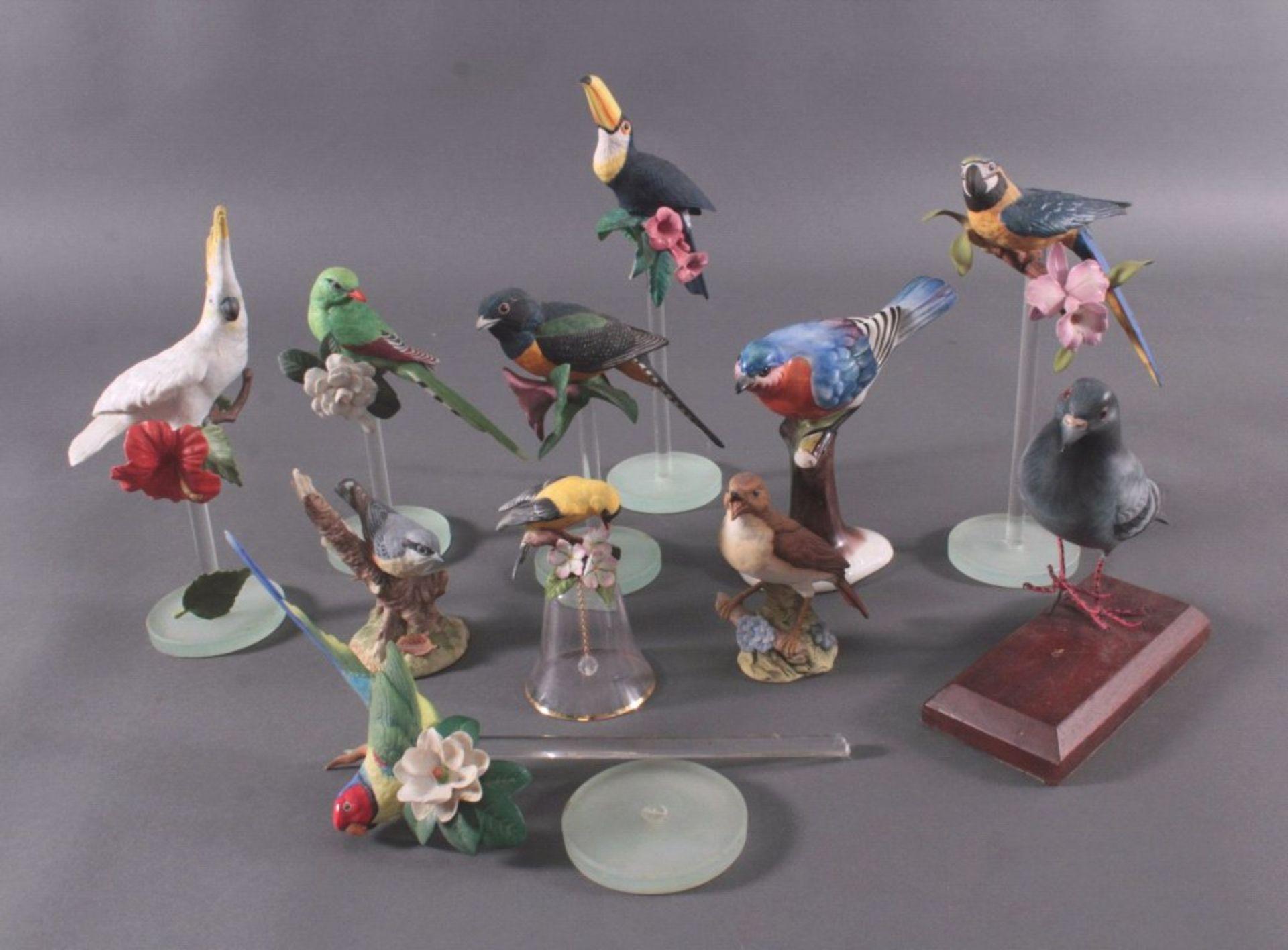 Vogel-FigurenBiskuitporzellan, Naturalistisch gearbeitete und staffierteVogelfiguren