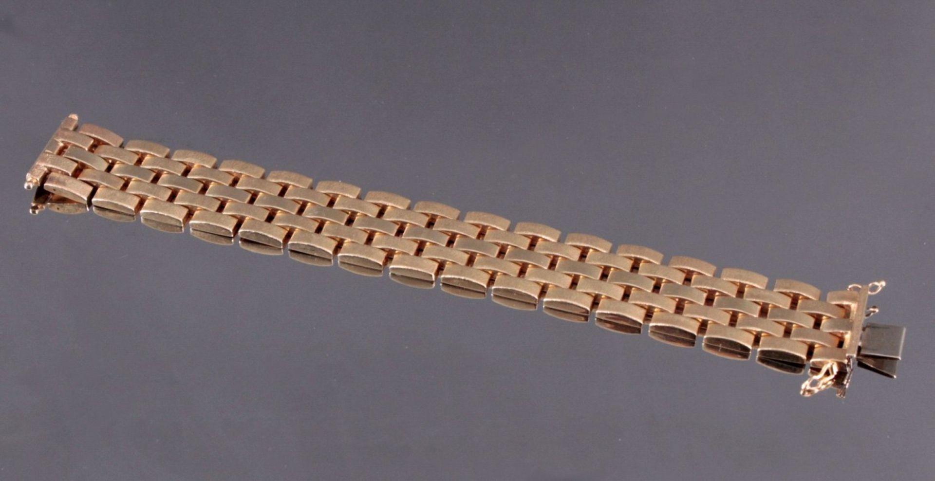 Damenarmband 585/000 GelbgoldGliederarmband, Sicherheitsverschluss, ca. L- 18,5 cm, 44,8g