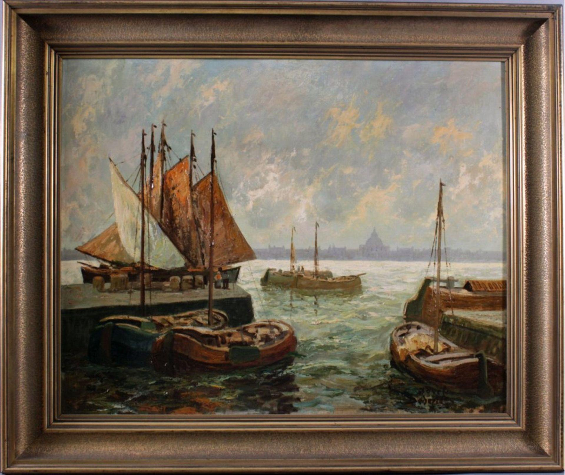Josef Dederichs (1876-1948/58)Hafenansicht von Amsterdam, Öl auf Karton gemalt, untenrechts