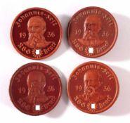 4 Lederabzeichen Johannis-Fest RGB Druck 19362x braunes Leder, 2x mit rotem Aufdruck, ca. D- 3,9 cm
