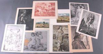 Hans Thoma 1839-192410 Graphiken, alle bis auf ein Blatt (Tritonenpaar) untenrechts mit Bleistift
