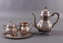 Teekern, um 1900800er Silber, Sichel und Krone, 4-teilig. Barockstil.Zucker-Sahne-Set auf ovalem