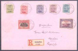 Eupen & Malmedy, Michel 1-7 auf R-BriefGelaufen von Herbesthal nach Aachen mit Ankunftsstempel