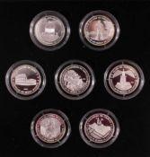 Die sieben Weltwunder, Ausgabe 20087 Medaillen, 999er Silber, Polierte Platte, 500 Francs,