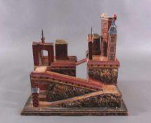 RitterburgHolz partiell gestuckt farbig staffiert, mehrteiligezusammensetzbare Burg mit Auffahrt auf