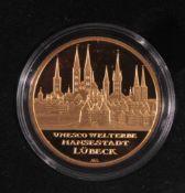 Goldmünze 100 Euro Hansestadt Lübeck1. Oktober 2007, Gold, 1/2 Unze (15,55 g), in Kapsel,