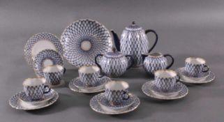 Kaffeeservice, Lomonosov, St. Petersburg, 20. Jh.Entwurf Seraphina Jakolewa. Porzellan mit