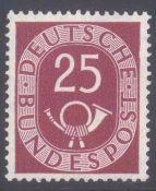 """Bund 1951, 25 Pfennig Posthorn, Plattenfehler IMichelnummer 131 I Plattenfehler """"Delle im Rahmen"""