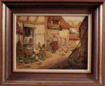 """Karl Luckhardt (1886-1970). Genre- und TiermalerÖl/Platte, """"Gehöf mit Bäuerin und Hühnern"""", signiert"""