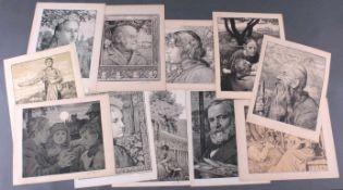 Hans Thoma 1839-1924. Schwarze Köpfe11 Grafiken, alle unten rechts mit Bleistift signiert,auf der