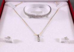 Schmuckset aus 750 Weiß- und Gelbgold mit DiamantenArmband ca. L- 17 cm, besetzt mit 108 Diamanten
