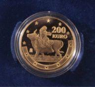200 Euro Goldmünze Spanien 2003 - 1. Euro Jahrestag999er Gold, 13,5 Gramm, in Etui