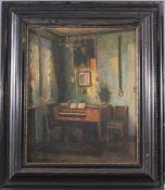 Ernst Horst (1875-?), Biedermeier-Interieur mit SpinettÖl auf Leinwand gemalt, unten rechts